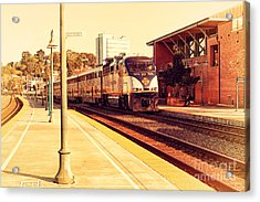Amtrak Train At The Martinez California Train Station . 7d10495 Acrylic Print by Wingsdomain Art and Photography