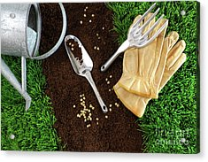Assortment Of Garden Tools On Earth Acrylic Print by Sandra Cunningham