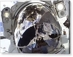 Astronaut Uses A Digital Still Camera Acrylic Print by Stocktrek Images