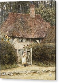 At The Cottage Gate Acrylic Print by Helen Allingham
