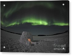 Aurora Borealis Over An Igloo On Walsh Acrylic Print by Jiri Hermann
