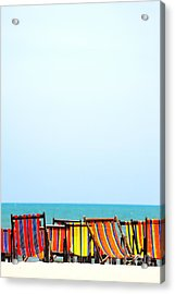 Beach Chairs Colorful Acrylic Print by Panupong Roopyai