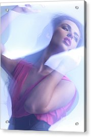 Beauty Photo Of A Woman In Shining Blue Settings Acrylic Print by Oleksiy Maksymenko
