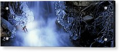 Blue Icy Waterfall Acrylic Print by Ulrich Kunst And Bettina Scheidulin