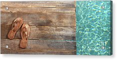 Brown Sandals On Withered Wood  Acrylic Print by Sandra Cunningham