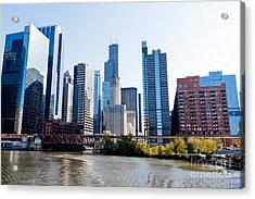 Chicago River Skyline With Sears-willis Tower Acrylic Print by Paul Velgos