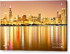Chicago Skyline At Night Photo Acrylic Print by Paul Velgos