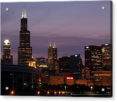 Chicago With A Purple Sky Acrylic Print by Dan Susek