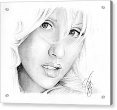 Christina Aguilera Acrylic Print by Rosalinda Markle