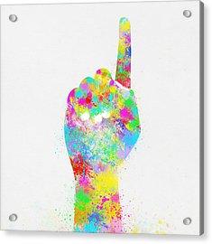 Colorful Painting Of Hand Pointing Finger Acrylic Print by Setsiri Silapasuwanchai
