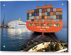 Container Ship Acrylic Print by Paul Rapson