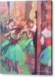 Dancers - Pink And Green Acrylic Print by Pg Reproductions