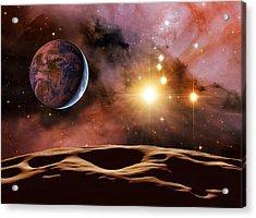 Earthlike Alien Planet, Artwork Acrylic Print by Detlev Van Ravenswaay