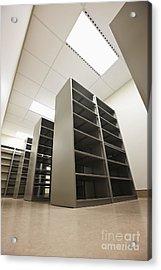 Empty Metal Shelves Acrylic Print by Jetta Productions, Inc