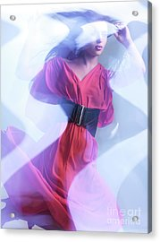 Fashion Photo Of A Woman In Shining Blue Settings Wearing A Red  Acrylic Print by Oleksiy Maksymenko