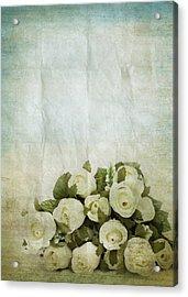 Floral Pattern On Old Paper Acrylic Print by Setsiri Silapasuwanchai