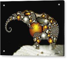 Fractal Elephant Acrylic Print by Julie  Grace
