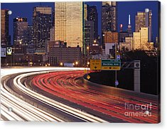 Freeway Traffic At Dusk On I-30 Acrylic Print by Jeremy Woodhouse