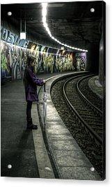 Girl In Station Acrylic Print by Joana Kruse