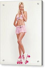 Glamorous Girl On Roller Skates Acrylic Print by Oleksiy Maksymenko