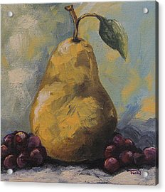 Golden Pear With Grapes Acrylic Print by Torrie Smiley