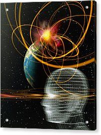 Head In Space Acrylic Print by Mehau Kulyk
