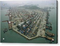 Hong Kong Cargo Terminal, One Acrylic Print by Justin Guariglia
