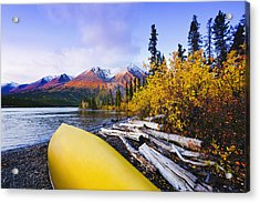 Kathleen Lake And Mountains, Kluane Acrylic Print by Yves Marcoux
