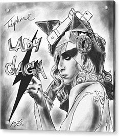 Lady Gaga Telephone Drawing Acrylic Print by Pierre Louis