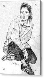 Lady Pencil Portrait Acrylic Print by Rom Galicia