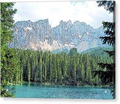 Lake Carezza Dolomites Italy Acrylic Print by Joseph Hendrix