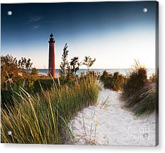 Little Sable Point Light Station Acrylic Print by Larry Carr