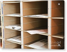 Mail In Office Mailboxes Acrylic Print by Jetta Productions, Inc