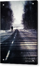 Man Walking On A Rural Winter Road Acrylic Print by Sandra Cunningham