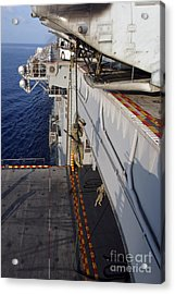 Marines And Sailors Fast-rope Acrylic Print by Stocktrek Images