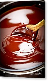 Melted Chocolate And Spoon Acrylic Print by Elena Elisseeva