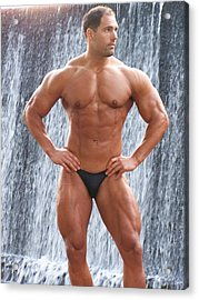 Muscleart Marius Waterfall And Muscle Acrylic Print by Jake Hartz
