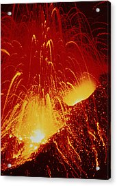 Night View Of Eruption Of Alaid Volcano, Cis Acrylic Print by Ria Novosti