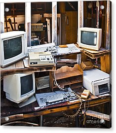 Old Computers In Storage Acrylic Print by Eddy Joaquim
