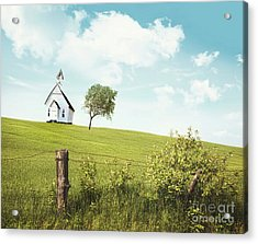 Old Country School House  On A Hill  Acrylic Print by Sandra Cunningham