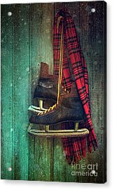 Old Ice Skates Hanging On Barn Wall Acrylic Print by Sandra Cunningham