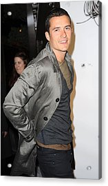 Orlando Bloom At Arrivals For Burberry Acrylic Print by Everett