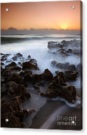 Overwhelmed By The Sea Acrylic Print by Mike  Dawson