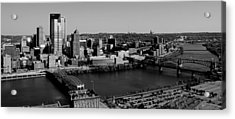 Pittsburgh In Black And White Acrylic Print by Michelle Joseph-Long
