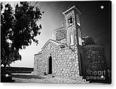 Prophet Elias Church Profitis Ayios Elias With Prayer Rag Trees Hilltop Protaras Republic Of Cyprus Acrylic Print by Joe Fox