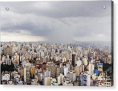 Rain Shower Approaching Downtown Sao Paulo Acrylic Print by Jeremy Woodhouse