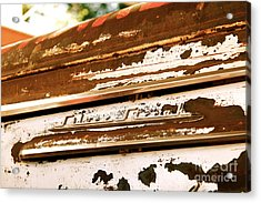Rusted Antique Chevrolet Car Brand Ornament Acrylic Print by ELITE IMAGE photography By Chad McDermott