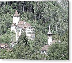 Schloss Wimmis And Church Switzerland Acrylic Print by Joseph Hendrix