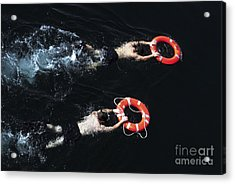 Search And Rescue Swimmers Acrylic Print by Stocktrek Images