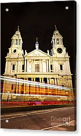 St. Paul's Cathedral In London At Night Acrylic Print by Elena Elisseeva